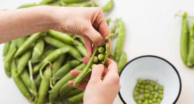 Summer peas in season
